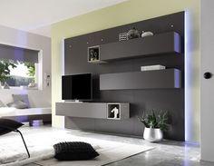 Ensemble mural TV lumineux gris mat moderne VANESSA