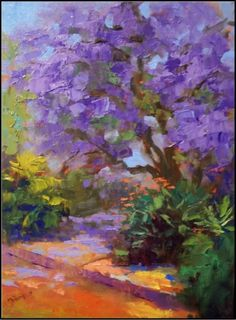Jacaranda Tree in Bloom, 12x16, oil on canvas, paintings of trees ,paintings of jacaranda trees, purple trees, exotic trees, Florida trees -- Maryanne Jacobsen