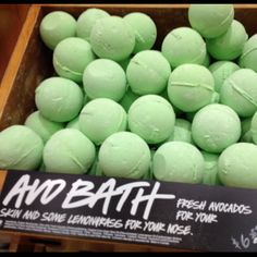 In my top 5 of Lush bath bombs-AvoBath combines my love o avocados and an amazing smell and  calming color green of a bath :)