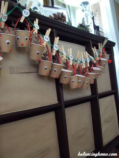 Advent Calendar idea: I have used cups like this before with the class. Each student drew/wrote what they liked most about Christmas and on their number day they got to share with the class. Christmas Crafts For Adults, Christmas Activities, Holiday Crafts, Crafts For Kids, Christmas Decorations, Noel Christmas, A Christmas Story, Simple Christmas, Christmas Ideas