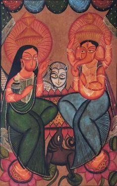 Original Rare Painting of Goddess Lakshmi and Ganesh in Bengal Kalighat Patachitra style. http://bit.ly/VqmNaI