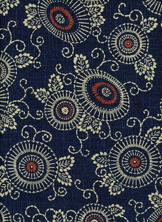 Indigo Fabric Floral Parasol 100% Cotton, Japanese Quilting Fabric by the half yard KW-3510-1A