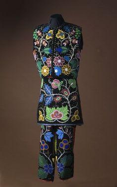 Stunning–absolutely, stunning! Chippewa Beaded Dance Costume, - leggings, vest, breech cloths; beading, beadwork, native american, bead work Chippewa Beaded Dance Costume, - Cowan's Auctions