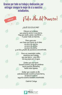Día del maestro Teacher Worksheets, Happy Birthday Quotes, Teachers' Day, Too Cool For School, Teacher Appreciation, Kids Playing, Teacher Gifts, Infographic, Motivational Quotes