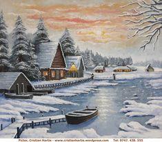 Peisaj de iarna, 60 x 70 cm, pictor, Cristian Hartie