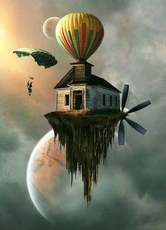"""Maison montgolfière -  Photomontage """"Coming Home"""" avec une maison accroché à un ballon, un peu comme dans le film Là haut ==> https://fr.pinterest.com/pin/476748310531204991/"""