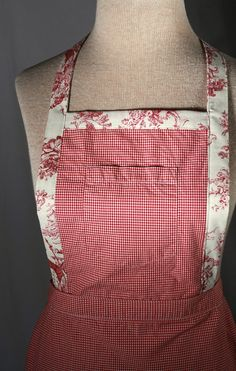 Upcycled Womens Apron Red and White Plaid Made by TrendyEarth, $25.00