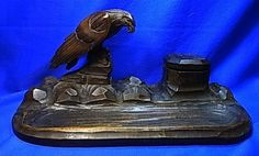 Antique Patriotic Desktop Decoration Inkwell Eagle Figurine