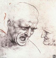 Estudos de cabeça (2), metal por Leonardo Da Vinci (1452-1519, Italy)