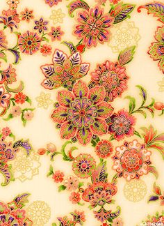 """'Dramatic Garden': Larger flowers are about 3"""", with gold metallic, from the 'La Scala 5' collection by Robert Kaufman Fabrics. via eQuilter.com"""