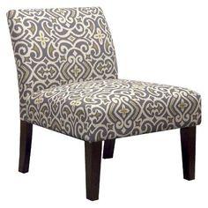 Avington Upholstered Slipper Chair - Gray/Citron