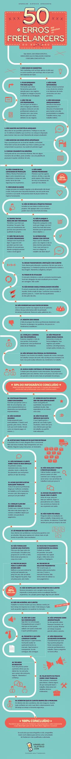 Infographic Design Inspiration - 50 erros que afastam os freelancers do sucesso - CoDesign Magazine Web Design, Graphic Design Tips, Marketing Digital, Design Thinking, Success, Knowledge, Typography, Business Marketing, Photoshop