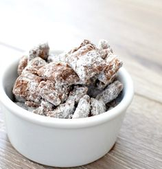 The best puppy chow in the universe. Clumps of chocolate peanut butter goodness held together by just enough powdered sugar. An easy treat with only 4 ingredients! Gluten-free & dairy-free!