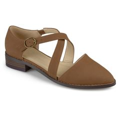Women's Journee Collection Elina D'orsay Ankle Strap Flats - Taupe 6.5, Taupe Brown