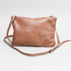 Soft Leather Across Body Bag: Soft Leather Across Body Bag in buttery soft pale brown leather in a simple classic unfussy style.