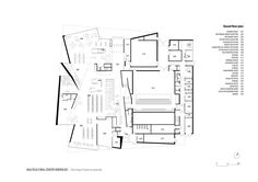 Image 33 of 41 from gallery of Multicultural Centre in Isbergues / Dominique Coulon & Associés. Calais France, Ground Floor Plan, Dominique, Cultural Center, Planer, Layout Design, Architecture Design, House Plans, Floor Plans