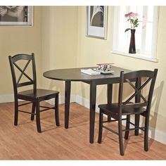 3 Piece Tiffany Dining Table Set Wood/Black   Tms