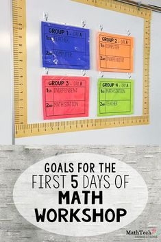 goals for the first five days of math workshop - setting up math workshop