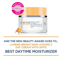 New Beauty magazine awarded the prestigious New Beauty Award for Lumene Bright Now Day Cream SPF 15  for the second year running! We are proud to be recognized as the best daytime moisturizer in the marketplace. The award-winning formula is based on our staple Arctic Cloudberry as well as encapsulated Vitamin C.