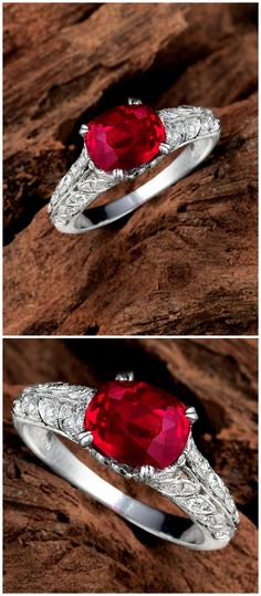 A 2.34-Carat Unheated Burmese Ruby and Diamond Ring in a platinum Leon Mege setting.