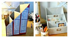 11 Genius DIY Organizing ideas for a beautiful home and a calm mind Diy Storage, Diy Organization, Organizing Ideas, Karten Display, Office Deco, Diy Magazine Holder, Tube Carton, Diy Karton, Cardboard Crafts