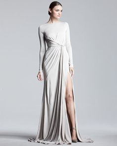 Long-Sleeve Jersey Gown by Elie Saab