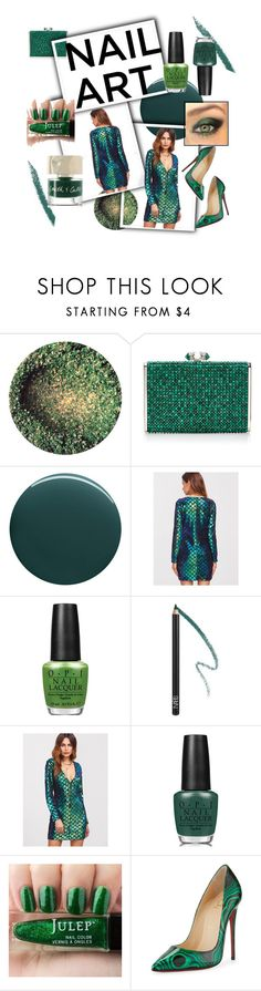 """""""Green Polish #nailedit"""" by numeangeleyes ❤ liked on Polyvore featuring beauty, Judith Leiber, Deborah Lippmann, OPI, NARS Cosmetics, Christian Louboutin and Smith & Cult"""
