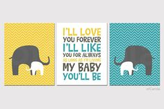 BABY PRINTS Nursery Personalized - Elephant Wall Art Child Animal Print, Choose Colors - Yellow Turquoise Gray White Colors - 8x10 inch on Etsy, $43.00