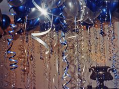 Image result for balloons hanging from ceilings combined with helium balloons