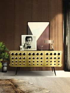 Monocles brass sideboard by Delightfull (featuring Roger Moore of course) /// More details on Interiorator.com