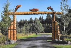 Entry Gate RMLH - Authentic and bold. Welcome your friends and family with a custom made log entry gate. Driveway Entrance, Entrance Sign, Entrance Ideas, Gate Ideas, Farm Gate, Log Fence, Cedar Log, Modern Entrance, Porch Posts