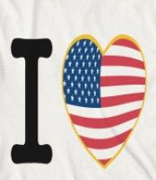 I Love The USA - Our I love America design has the American flag inside of a gold heart.