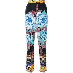Etro printed straight trousers (3.435 BRL) ❤ liked on Polyvore featuring pants, multicolor, blue trousers, blue pants, patterned trousers, colorful pants and silk pants
