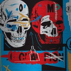Marmont Hill Two Skulls II by Josh Ruggs Painting Print on Brushed Aluminum, Size: 32 inch x 32 inch, Multicolor