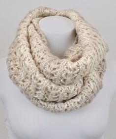 Khaki Sparkle & Sequin Accent Infinity Scarf