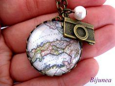 World map necklace  World necklace  Map necklace  by Bijunea, $19.90
