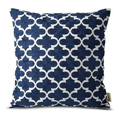 Plain Jane Embroidery Decorative Abstract Lattern Throw Pillow Cases for Sofa Cushion Covers for Bed Navy -- You can get additional details at the image link.