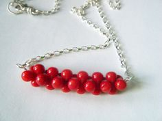 Coral necklace Red necklace Bar necklace Sterling by cameebijoux