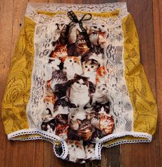 YELLOW CROTCHET STRETCH CAT HIGH WAISTED PANTIES | Bullets & Bees BOUTIQUE