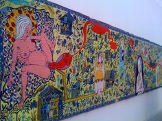 Grayson Perry - The Wathamstow Tapestry, 2009. Telling a story with pictures and colors. Similar to what Philmela had to do to contact her sister.