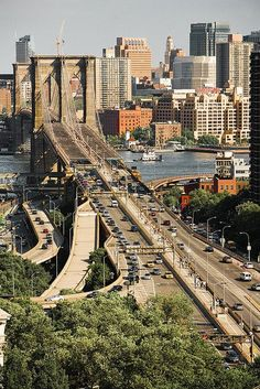 Brooklyn Bridge, New York City, New York - facing Manhattan