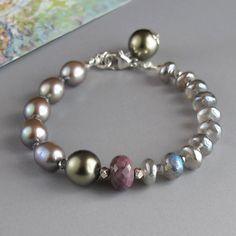 Mystic Labradorite Sugalite Gemstone Grey Pearl Swarovski Glass Pearl Sterling Silver Bracelet