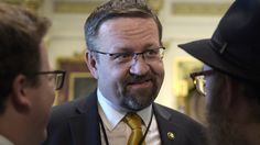 Deputy assistant to President Trump, Sebastian Gorka, talks with people in the Treaty Room in the Eisenhower Executive Office Building on the White House complex in Washington, Tuesday, May 2, 2017, during a ceremony commemorating Israeli Independence Day. CREDIT: AP Photo/Susan Walsh