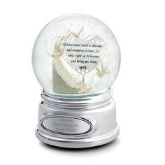 """Personalized Memorial Stairway Snow Globe Gift by Things Remembered. $34.99. For those who have lost someone they love, this water globe is a beautiful way to honor their memory and keep them close to your heart. Inside an intricate bisque staircase rises to the heavens, guided by doves. An inspirational quote and a recording of """"Greensleeves"""" help provide comfort as the globe rotates, and the brilliant silver base is ready to engrave your special message of sympathy and con..."""