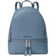 Michael Michael Kors Rhea Zip Medium Backpack ($298) ❤ liked on Polyvore featuring bags, backpacks, denim, leather handbag tote, leather tote bags, zippered tote bag, blue tote handbags and leather totes
