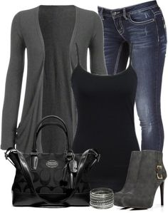 Have the jeans, camisole, cardigan, purse, wear black flats and big silver jewelry