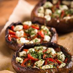 Stuffed Portobello Mushrooms With Roast Tomatoes and Goat Cheese Recipe Appetizers with portabello mushroom, olive oil, lemon juice, shallots, large garlic cloves, salt, pepper, goat cheese, chopped parsley, chives, roasted tomatoes