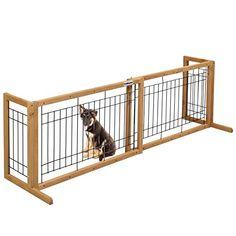 PetDanze Free Standing Pet Gates | Extra Wide Indoor Small Dog Gate |  Expandable Puppy Safety Gate | Wooden Long Door Pet Gate | 40u0027 To 71u0027  Adjustable U003eu003eu003e ...