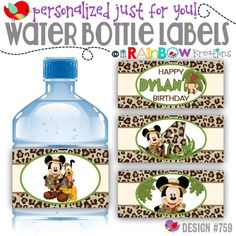WBW-659: DIY - Mickey Mouse Jungle Safari Water Bottle Wrappers