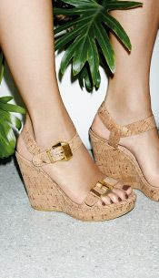 Cork wedge sandals for women.